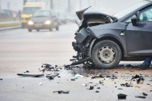 image of a crash car in an intersection